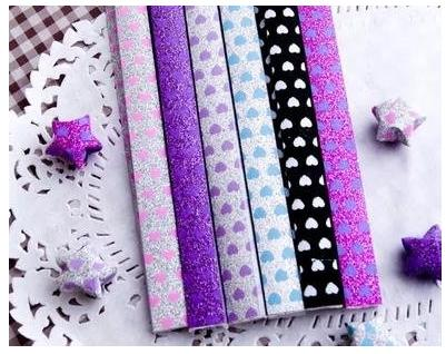 Hot selling! Origami Stars Papers Package - Glitter Heart for the woman gifts Home decoration(China (Mainland))