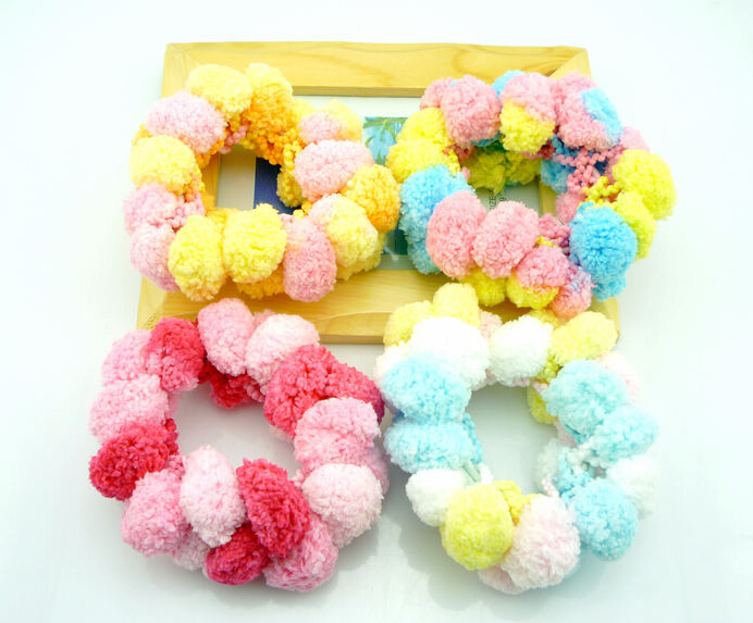 4 pieces/lot Lovely big furry ball flower children headwear Candy color baby elastic hair band(China (Mainland))