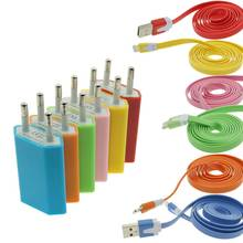 Colorful 5V 1A Power Charger Adapter + 1M Lightning Cable USB Data Charging Sync 8Pin Cable For iPhone 5 5s 6 6s plus iPad iPod