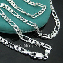 CN3   Hotsale New Items / Men Jewelry / Free Shipping High Quality / 925 Sterling Silver 4MM Figaro Chain Necklace