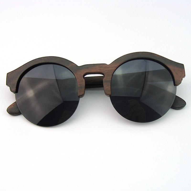 Aliexpress.com : Buy Ebony wood sunglasses half rim round ...