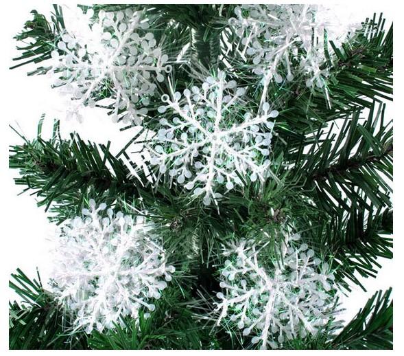 120pcs/lot 15cm White Plastic Christmas Snowflake for Xmas Tree Window Showcase Decoration Party Christmas Gift free shipping(China (Mainland))
