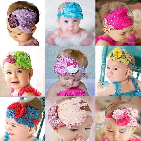 Wholesale Beautiful Feather Headband hairband Baby Girls headbands Head hair bands children Christmas gift 1O6R(China (Mainland))