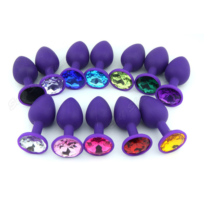 80 * 34mm 4 Color Silicone Anal Sex Toys For Women & Men Big Erotic Sexy Anus Butt Plugs with Crystal Jewelry for Female AS023M