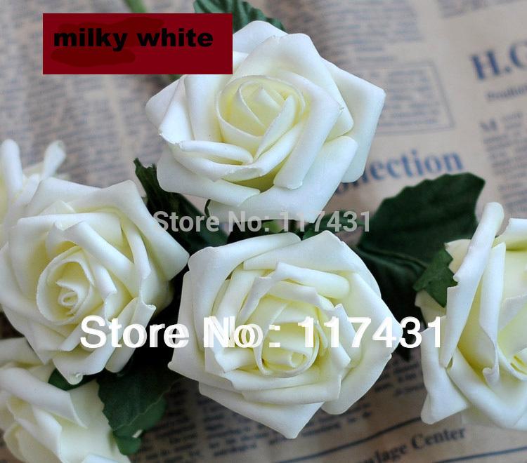 free shipping 100pcs high quality staining artificial simulation pe foam eva single head rose flower wedding - Simulation Coloration