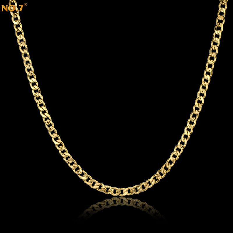 48CM Embossed Collier Bijoux Unisex Gold Chain Necklace,Brand Trendy Real Gold Plated Vintage Jewelry,Steampunk Colar Wholesale(China (Mainland))