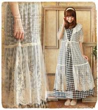 New Autumn Mori Girl Sweet Kawaii Lolita Fresh Lace Dress Embroidery Solid Ruffled Collar Hollow Out Half Sleeve Casual Dresses