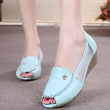 Weisixianni leather sandals female summer low heeled shoes fish head wedges shoes hollow mesh shoes tendon