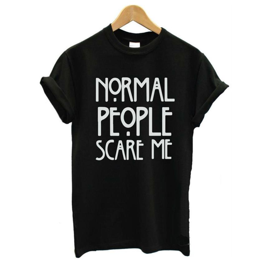 JECKSION Normal People Scare Me Leeter Print Black White Shirt Fashion 2016 Casual Short Sleeve TopsОдежда и ак�е��уары<br><br><br>Aliexpress