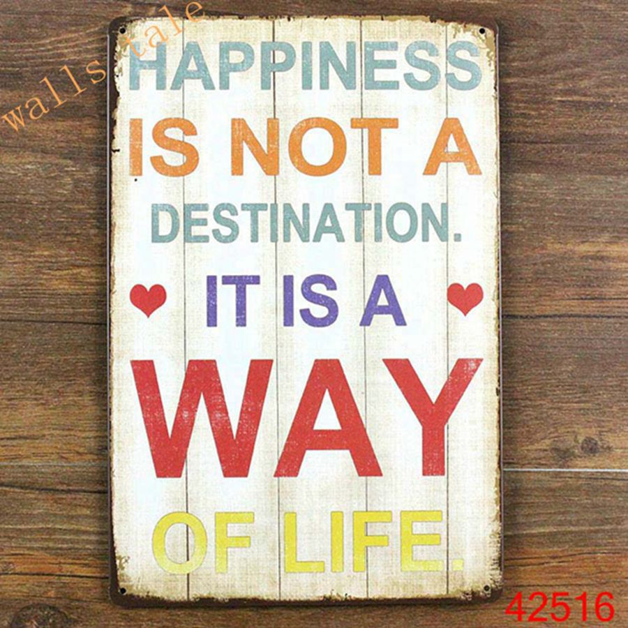 Metal Wall Art Vintage Home Decor Life Quote Metal Tin Sign House Decoration Large