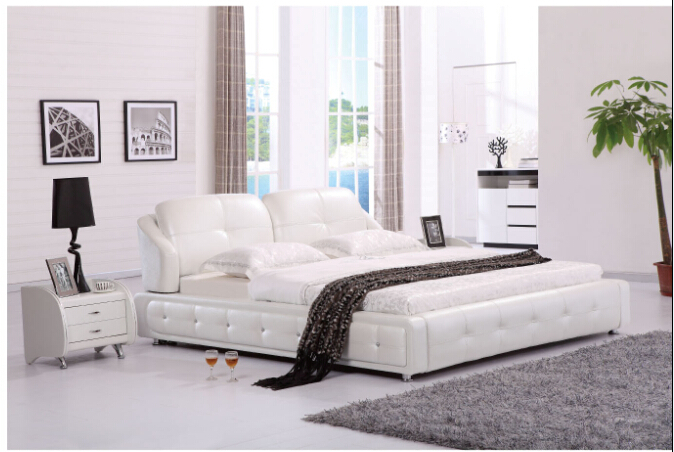 Lizz Furniture Bedroom Modern Leather Bed 8305 # |Lizz Bed oak solid wood bedroom furniture leather bed large soft bed(China (Mainland))