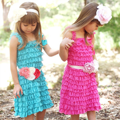 Hot sales!posh pretty multicolor petti lace dress, Spaghetti straps lace dress for kids girl(China (Mainland))