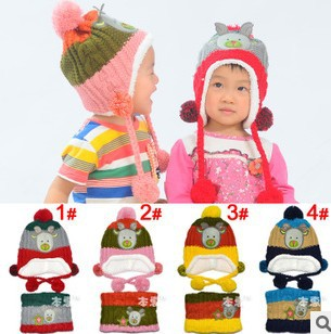 Hot Sale Kids Baby Winter Warm Beanie Crochet Earflap Hat Scarf+Caps 2pcs Set Child Hat Scarf Sets Free shipping #0920(China (Mainland))
