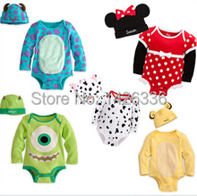 Baby Rompers Long Sleeve Infant Cartoon Baby Clothes Romper+Hat 2 pcs Clothing Boys Girls Clothes