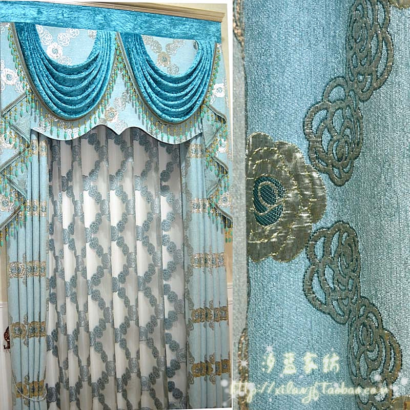 Quality chenille curtain customize finished products rose about(China (Mainland))