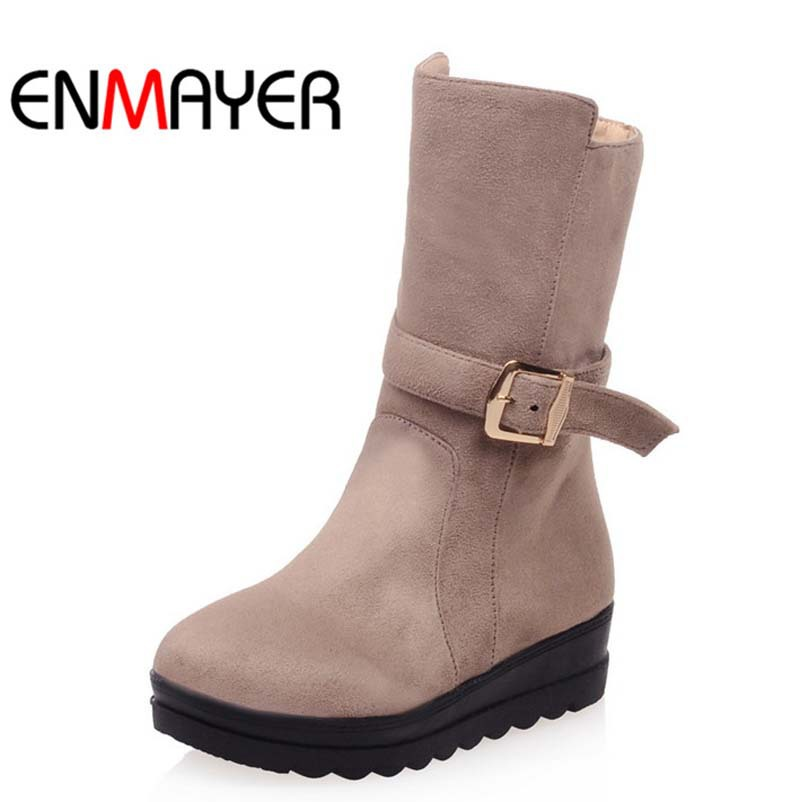ENMAYERFashion Wedges Snow BootsFor Women New Round Toe Buckle Zip Flock Ankle Boots Size Winter platform motorcycle boots Shoes<br><br>Aliexpress