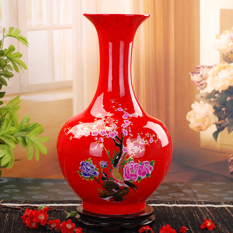 Ceramics floor vase modern fashion red peony vase furnishings decoration(China (Mainland))