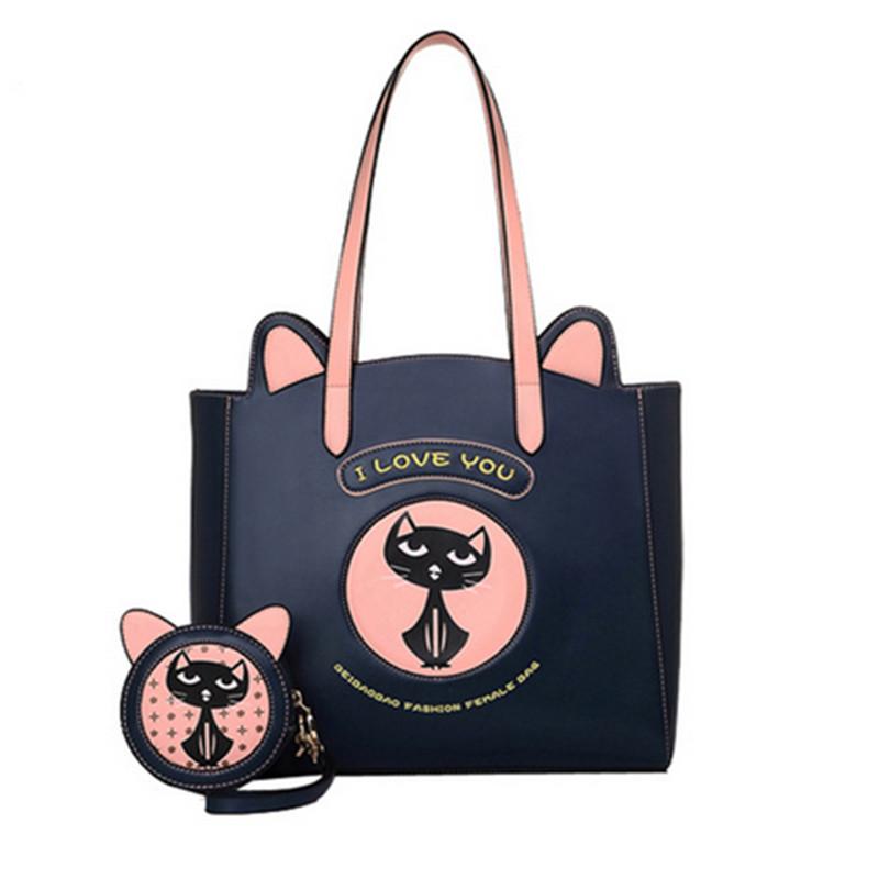 Original new women handbag fashion cat costume shopper bag mini purse blue/black pu leather handbag(China (Mainland))