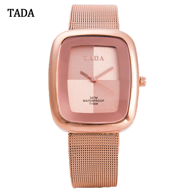 Luxury TADA Square Face Stainless Steel Mesh Band Watch Women Japan Movement Watches Lady Elegant Wristwatches relogio masculino(China (Mainland))