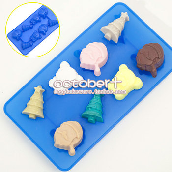 TO-LOVE Diy Cake Silicone Christmas Set, 8 Cavities Chocolate Moldchristmas tree pudding mold ice pattern mould