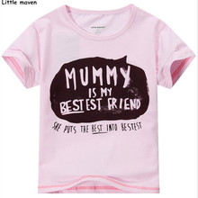 Little maven 2016 new summer baby girls funny t shirt Cotton letter printing mummy my best friend brand shirts / tee tops L015