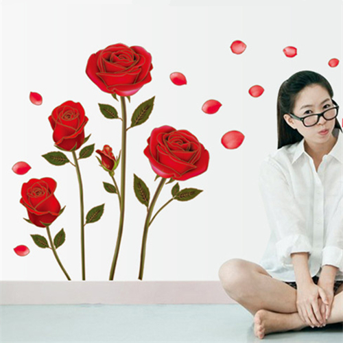 Removable Red Rose Wall Art Sticker Home Decor Wall Decal Wallstickers Interior Decoration Bedroom Bathroom Accessories Supplies(China (Mainland))