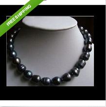"""Huge AAA +11-13MM NATURAL TAHITIAN BLACK BAROQUE PEARL NECKLACE 18""""14K(China (Mainland))"""