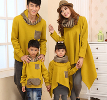 Family Hoodies Sweatshirts Fashion Striped Coats for children/couples Clothes for Daughter Son Mum Dad (Yellow/Blk color) CHH85(Hong Kong)