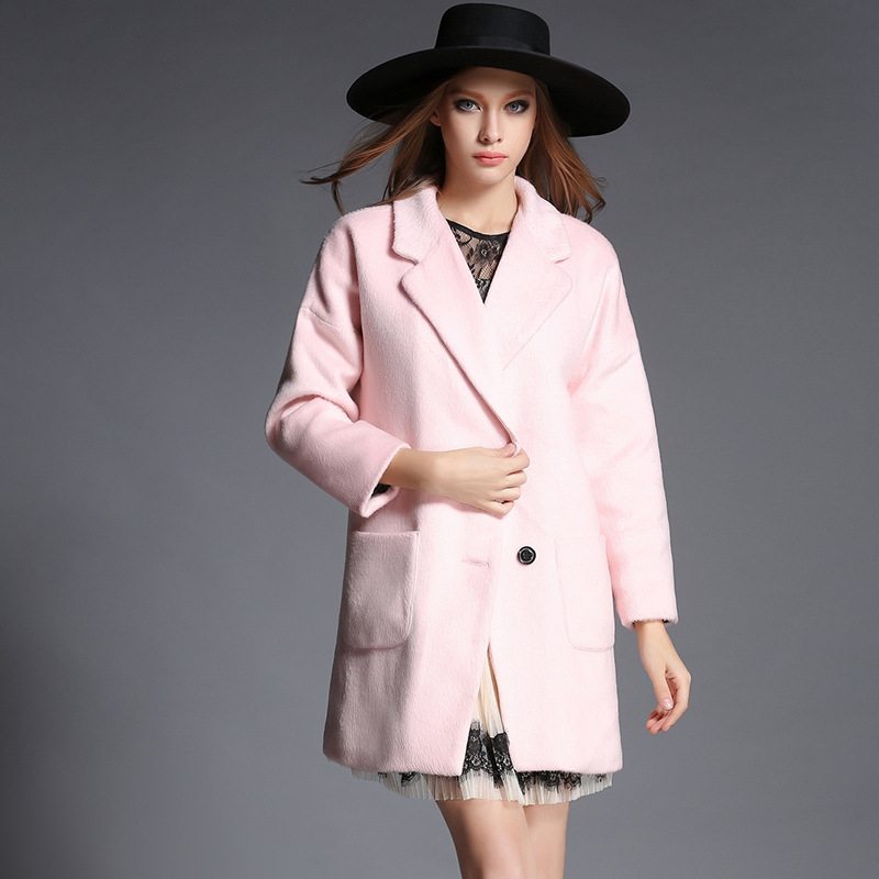 2015 new winter coat women Long paragraph two buckle Woolen Pink Maone Tops female Turn-Down Collar Casual Outerwear