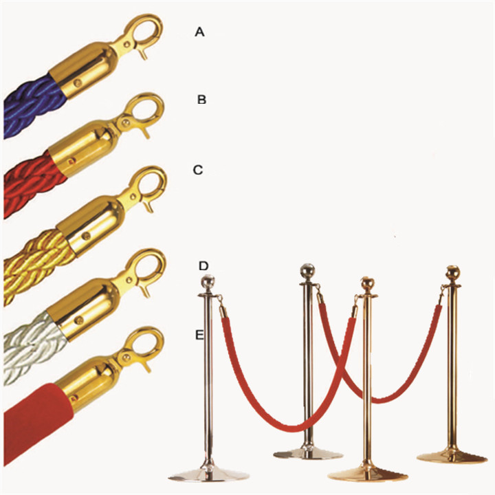 2016 HOT Rushed 2 Pcs Velvet Rope Stanchion Gold Post Crowd Control Queue Line Barrier New(China (Mainland))