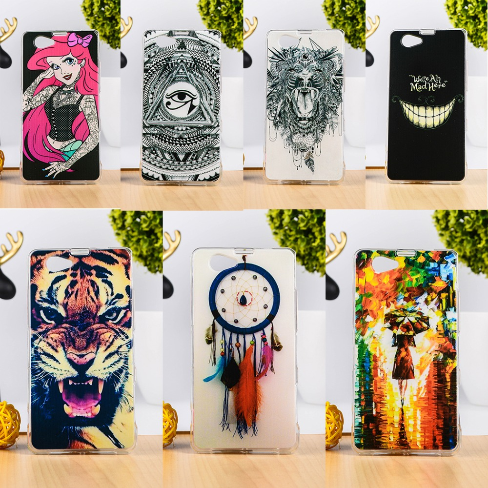 Painted Soft TPU Mobile Phone Case Sony Xperia Z1 Mini Z1 Compact D5503 M51W 4.3'' Silicon Back Cover Shell Skin Protective