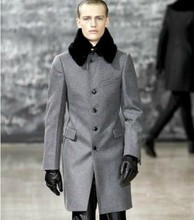 Custom wandouble grey men wool coat with real fur detachable collar(China (Mainland))