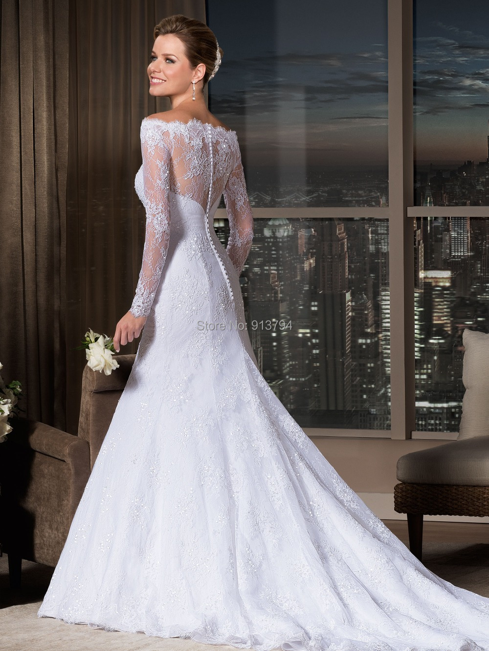 turmec » wedding dresses with lace sleeves off the shoulder