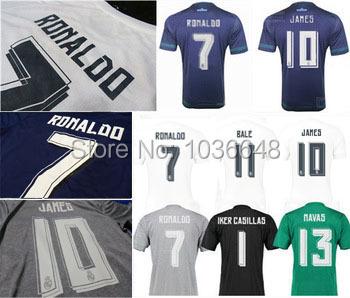 Hot! Best Thai Quality 15 16 real Madrid Soccer Jerseys,Hala Madrid 2016 ronaldo BALE KROOS JAMES gray blue football shirt(China (Mainland))
