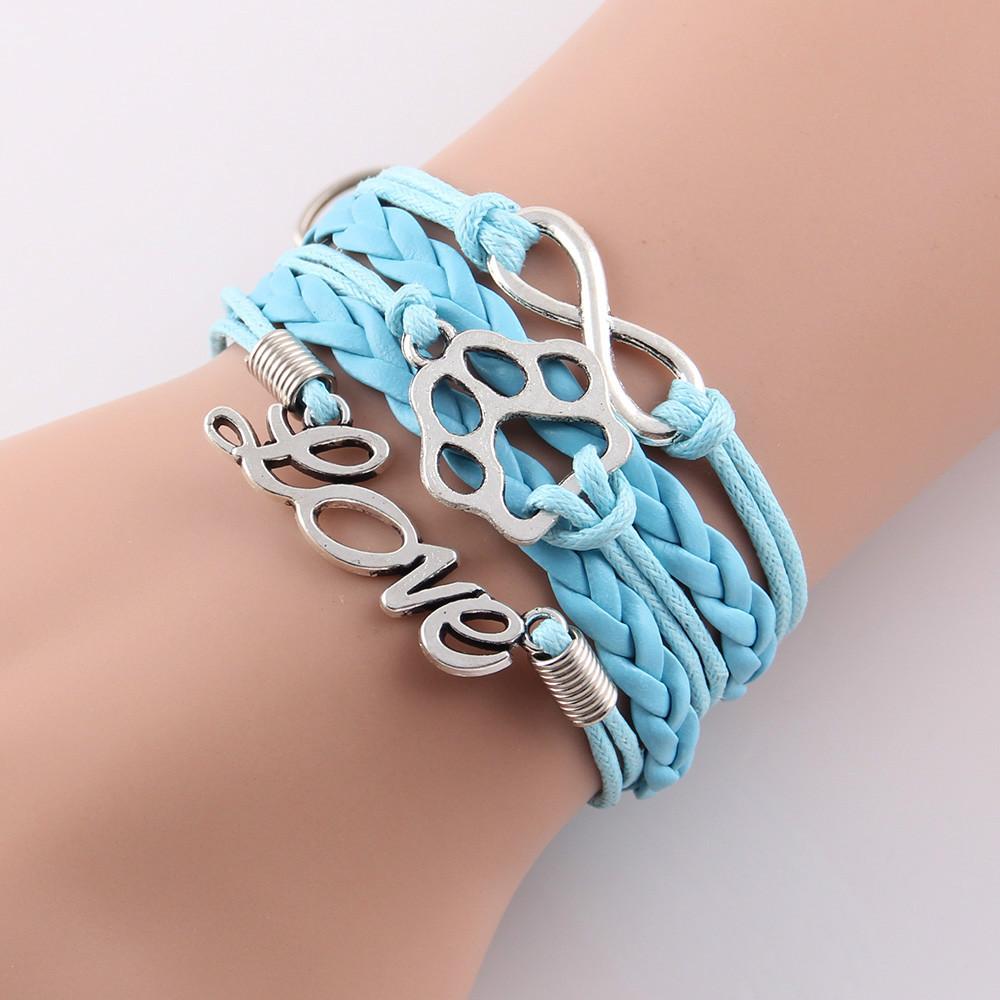 2015 New Fashion Handmade Paw charm bracelet men Infinity love best friend Bracelets for women Wrap