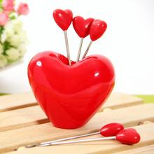Novelty Red Heart Stainless Steel Fruit Fork Dessert Spoon Set Free Shipping(China (Mainland))