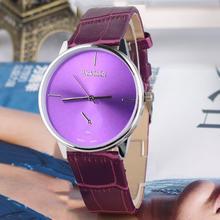 2015 caliente nueva moda estilo Simple mujeres hombres parejas reloj de cuarzo relojes PU correa de cuero Dial redondo sólido reloj Casual