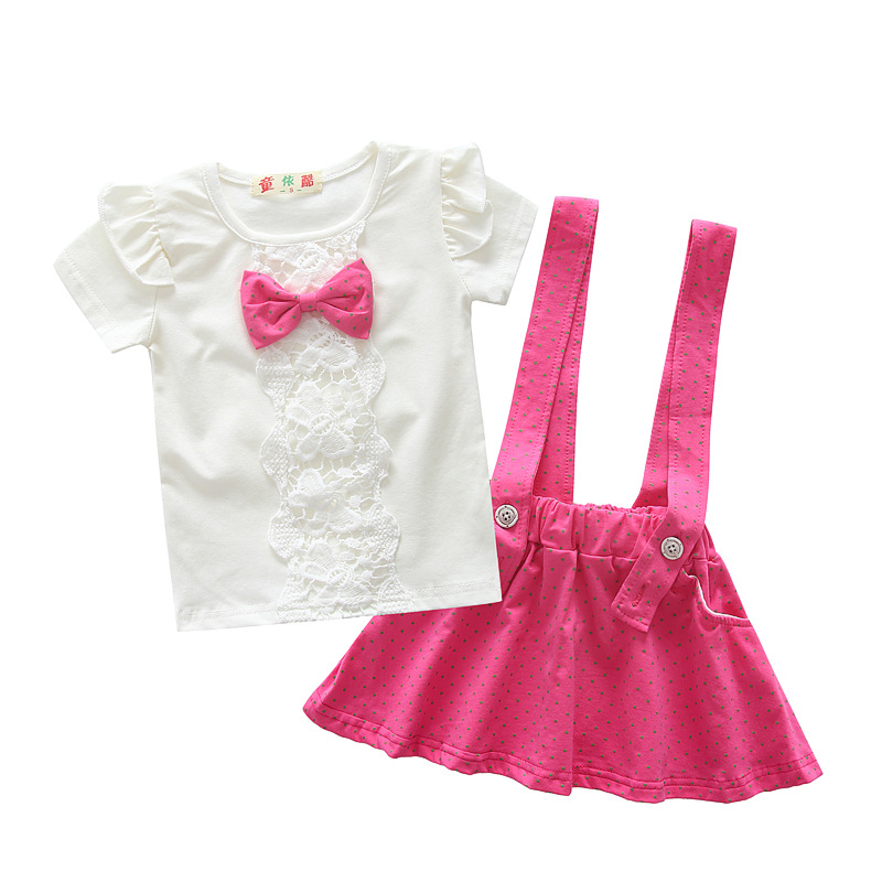 2016 toddler children summer baby girls clothing sets dress suit girls Bib summer set bow 2pcs kid strap dots sport suit set(China (Mainland))