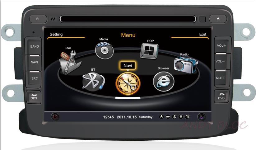 car dvd player case for Renault Duster Logan Sandero with gps/Radio/ bt/ipod/steering WHEEL control/3G/pip navigation radio(China (Mainland))