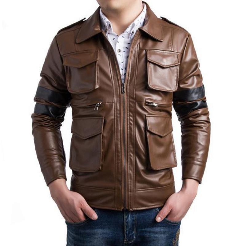 Brand Pu Leather Jacket Veste Cuir Homme 2015 Fashion Design Patchwork Mens Slim Motorcycle Biker Jacket Stylish Bomber Jacket