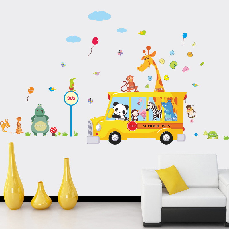 Panda giraffe animals school bus car home decal wall for Stickers de pared