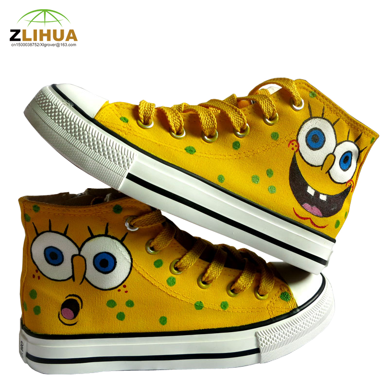 LUC Boys Girls Student Kids Bab Cartoon Spongebob Fashion Unisex Hand Painted Canvas Shoes Child Baby Anime Footwear Hot Product(China (Mainland))