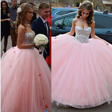 fashion ball gown long prom dresses 2016 fashion sweetehart crystal beaded pink tulle graduation gown for formal party(China (Mainland))