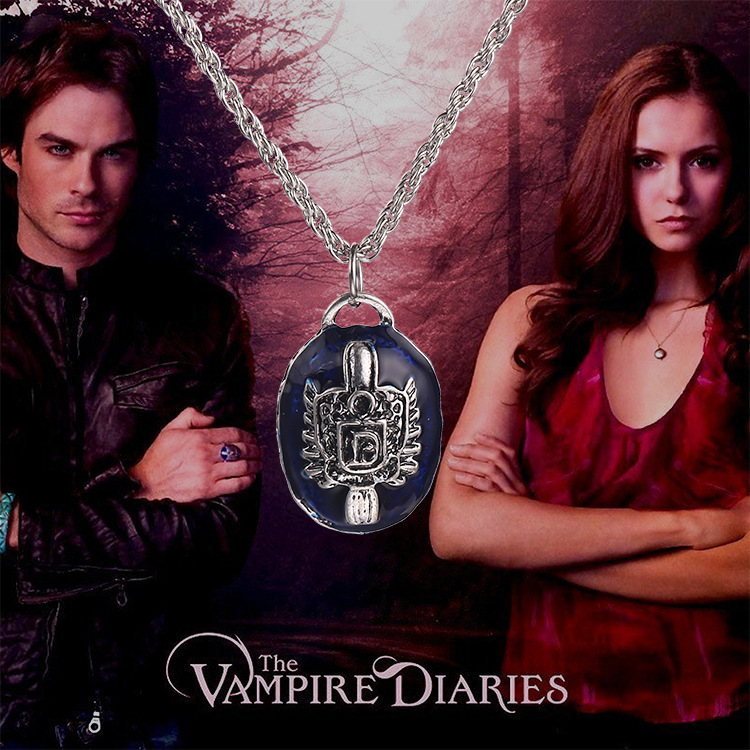 10pcs/lot The Vampire Diaries Damon Necklace Stefan Necklace Blue Pendant Necklace Pro Infinit Jewelry Free Shipping(China (Mainland))