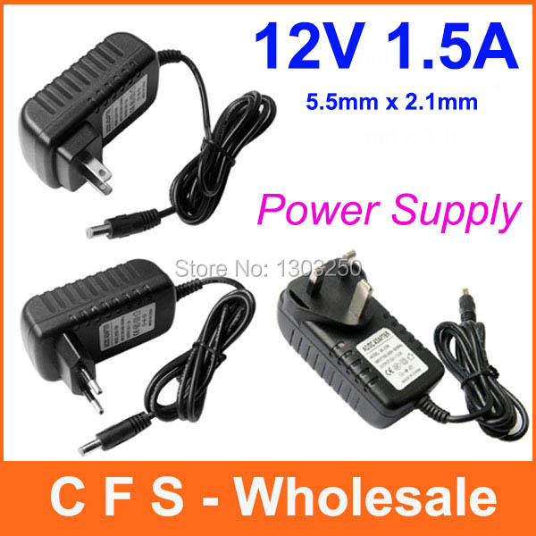 100pcs AC 100-240V to DC 12V 1.5A 1500mA Power adapter charger Power Supply Adapter 5.5mm x 2.1mm Free shipping wholesale(China (Mainland))
