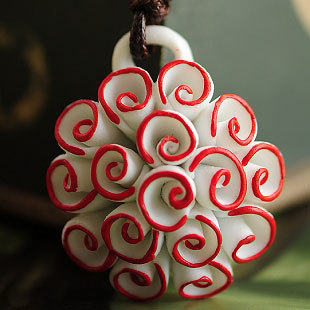 Fashion brief roll-up hem ceramic necklace exquisite pendant gentlewomen fresh
