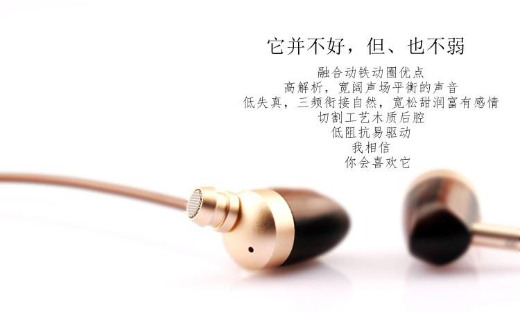 diy Wooden Circle iron earphone