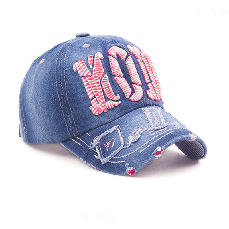 New 2015 Spring Women Baseball Caps Denim Embroidered Letter Cap Leisure Fashion Baseball Caps Autumn Good Quality(China (Mainland))