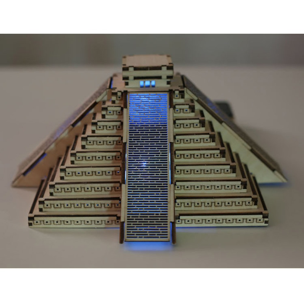 1 pcs DIY mdf Wood Maya Pyramid Crafts painting wooden toys Building Model with Led Light for Home decoration(China (Mainland))