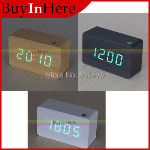 Green LED Maple Wooden Wood Digital temperature Thermometer Voice Activated Alarm Clock Timer Sound Usb/AAA Night Light